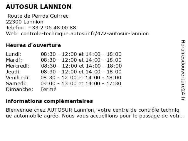 AUTOSUR LANNION à Lannion: adresse et heures d'ouverture