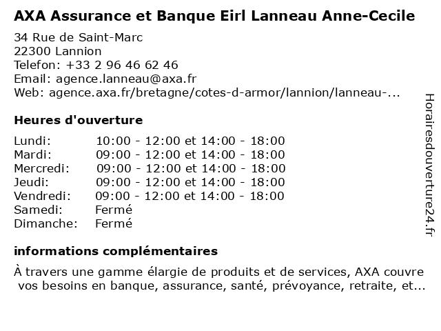 AXA Assurance ANNE-CECILE LANNEAU à Lannion: adresse et heures d'ouverture