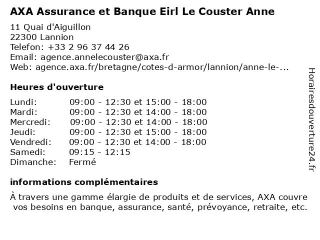 AXA Assurance EIRL LE YOUDEC MORGANE à Lannion: adresse et heures d'ouverture