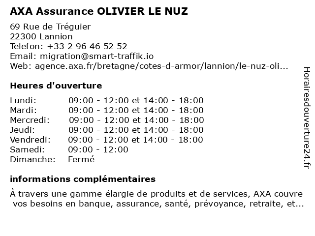 AXA Assurance OLIVIER LE NUZ à Lannion: adresse et heures d'ouverture