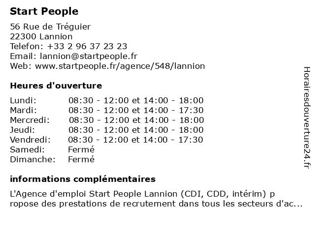 Agence d'emploi Start People Lannion à Lannion: adresse et heures d'ouverture