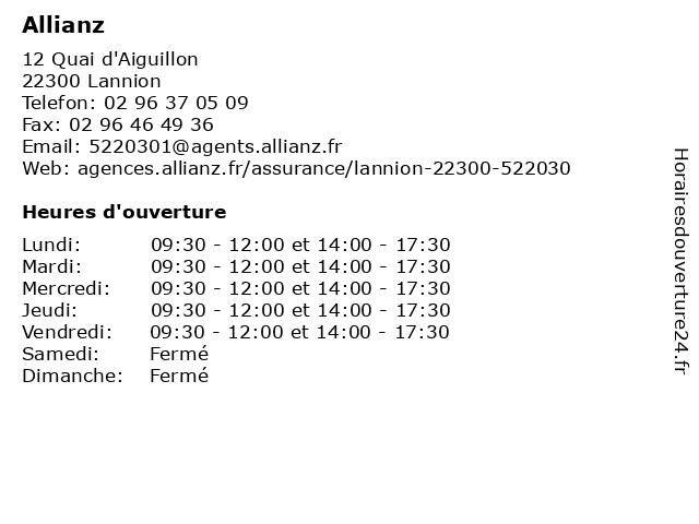 Allianz à Lannion: adresse et heures d'ouverture