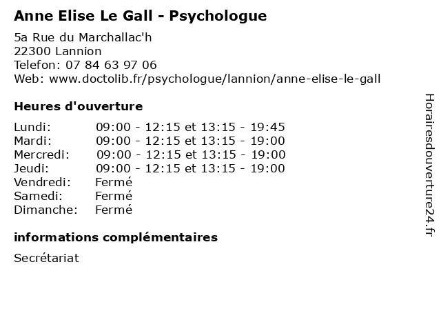 Anne Elise Le Gall - Psychologue à Lannion: adresse et heures d'ouverture