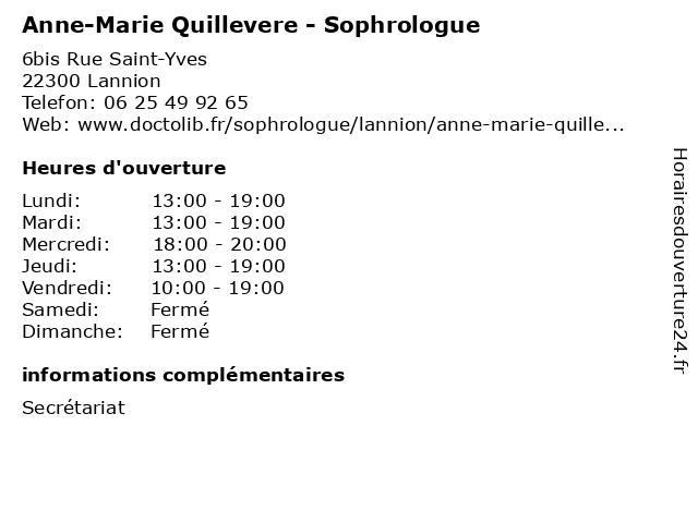 Anne-Marie Quillevere - Sophrologue à Lannion: adresse et heures d'ouverture