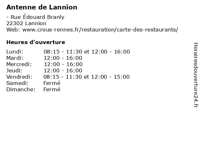 Antenne de Lannion à Lannion: adresse et heures d'ouverture