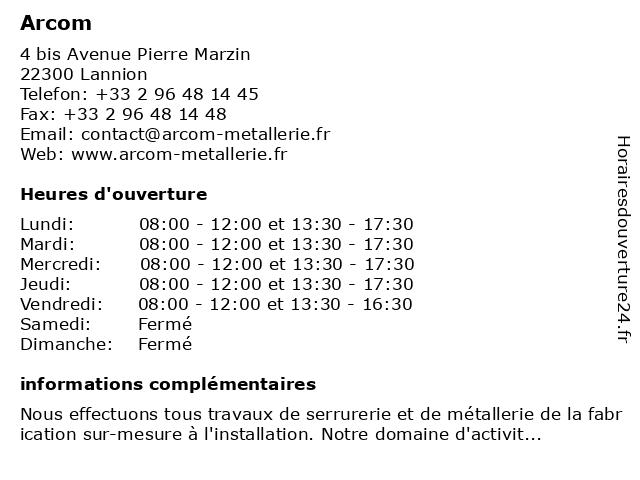 Arcom à Lannion: adresse et heures d'ouverture