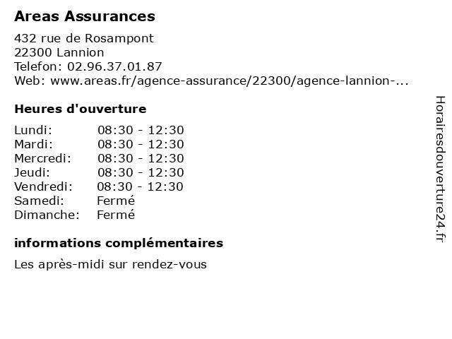 Areas Assurances à Lannion: adresse et heures d'ouverture