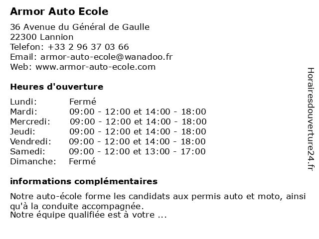 Armor Auto Ecole à Lannion: adresse et heures d'ouverture