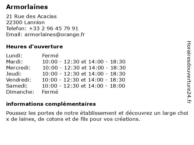 Armorlaines à Lannion: adresse et heures d'ouverture