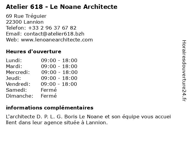 Atelier 618 - Le Noane Architecte à Lannion: adresse et heures d'ouverture