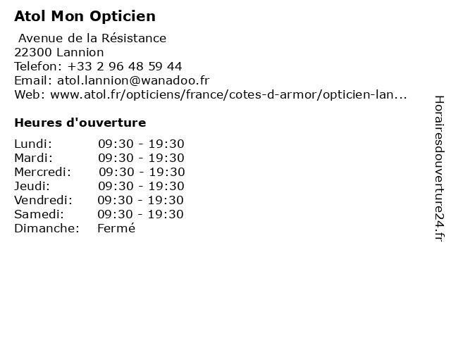 Atol Mon Opticien à Lannion: adresse et heures d'ouverture