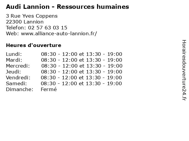 Audi Lannion - Ressources humaines à Lannion: adresse et heures d'ouverture