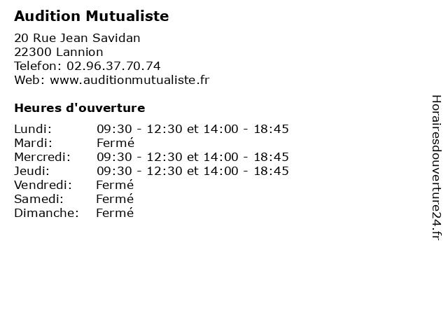 Audition Mutualiste à Lannion: adresse et heures d'ouverture