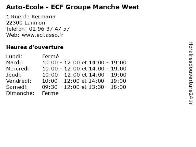 Auto-Ecole - ECF Groupe Manche West à Lannion: adresse et heures d'ouverture