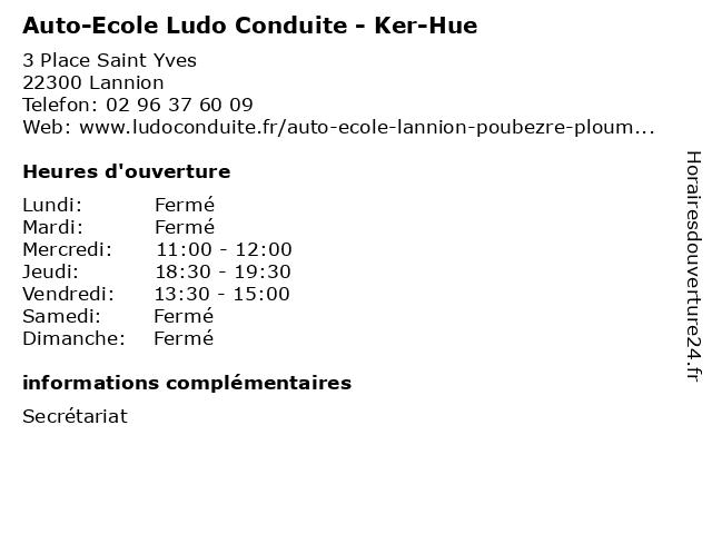 Auto-Ecole Ludo Conduite - Ker-Hue à Lannion: adresse et heures d'ouverture