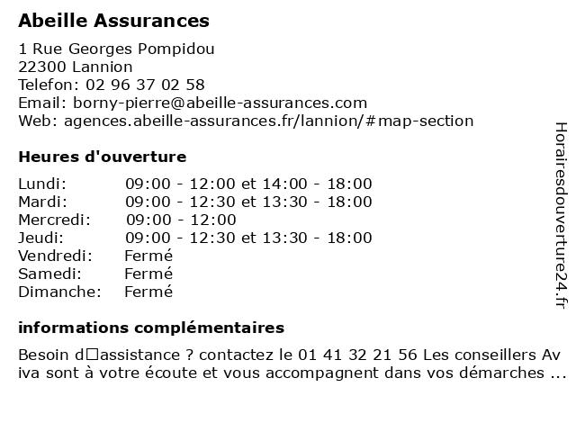 Aviva Assurance à Lannion: adresse et heures d'ouverture