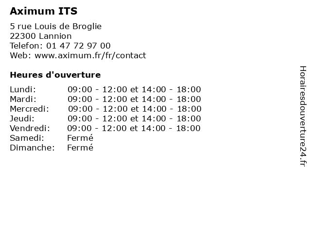 Aximum ITS à Lannion: adresse et heures d'ouverture