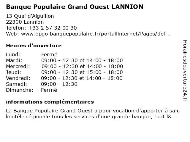 Banque Populaire Grand Ouest LANNION à Lannion: adresse et heures d'ouverture