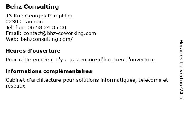 Behz Consulting à Lannion: adresse et heures d'ouverture