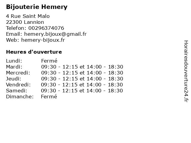 Bijouterie Hemery à Lannion: adresse et heures d'ouverture