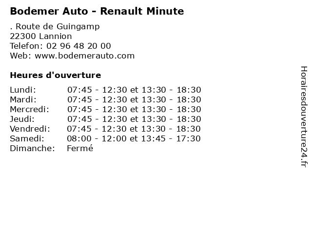 Bodemer Auto - Renault Minute à Lannion: adresse et heures d'ouverture