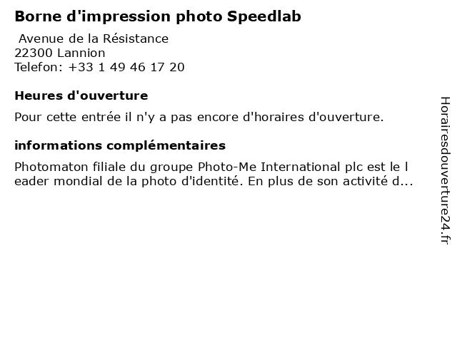 Borne d'impression photo Speedlab à Lannion: adresse et heures d'ouverture