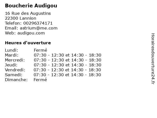 Boucherie Audigou à Lannion: adresse et heures d'ouverture