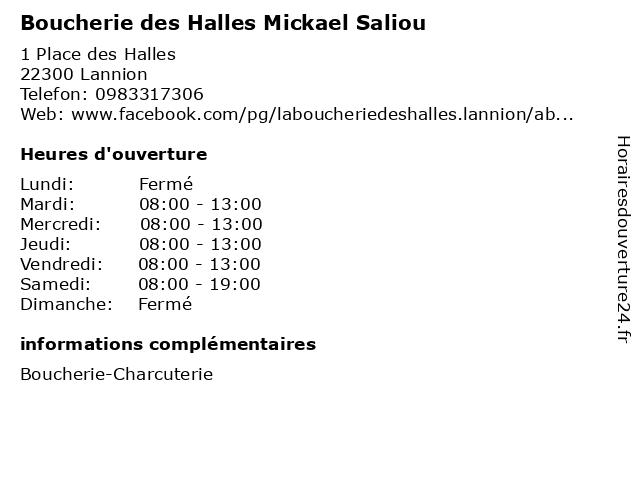 Boucherie des Halles Mickael Saliou à Lannion: adresse et heures d'ouverture