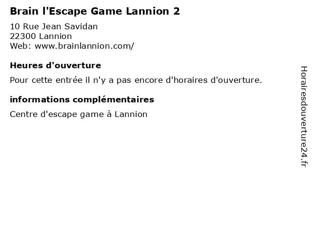 Brain l'Escape Game Lannion 2 à Lannion: adresse et heures d'ouverture