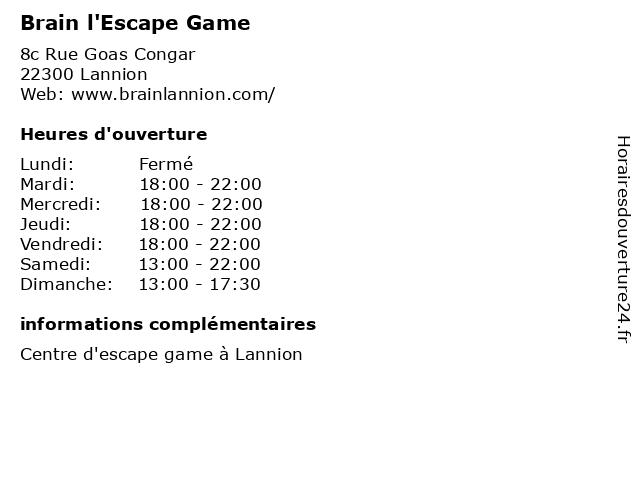 Brain l'Escape Game à Lannion: adresse et heures d'ouverture