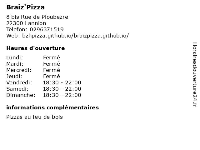 Braiz'Pizza à Lannion: adresse et heures d'ouverture