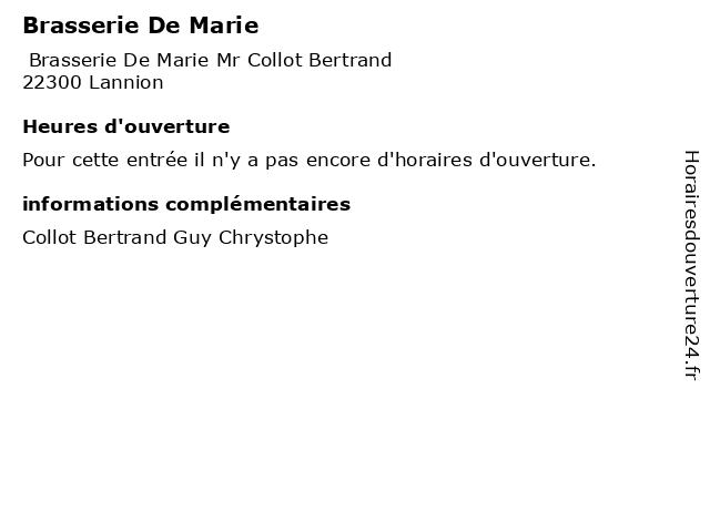 Brasserie De Marie à Lannion: adresse et heures d'ouverture