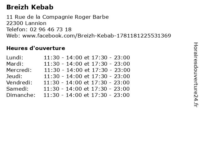 Breizh Kebab à Lannion: adresse et heures d'ouverture
