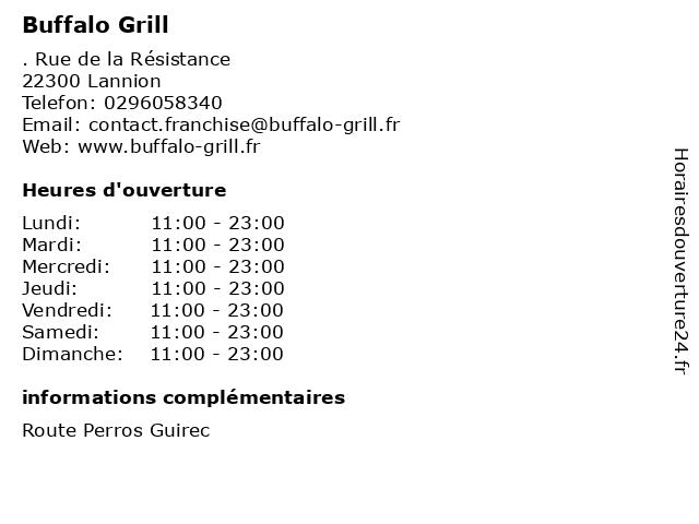 Buffalo Grill à Lannion: adresse et heures d'ouverture
