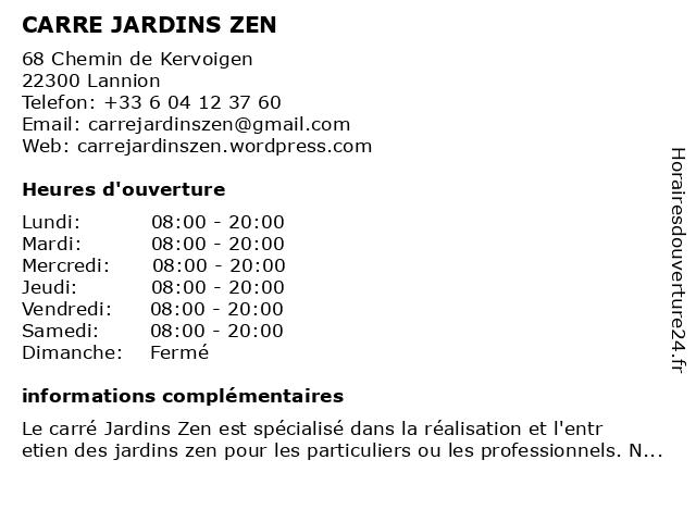 CARRE JARDINS ZEN à Lannion: adresse et heures d'ouverture
