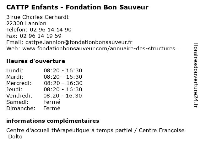 CATTP Enfants - Fondation Bon Sauveur à Lannion: adresse et heures d'ouverture
