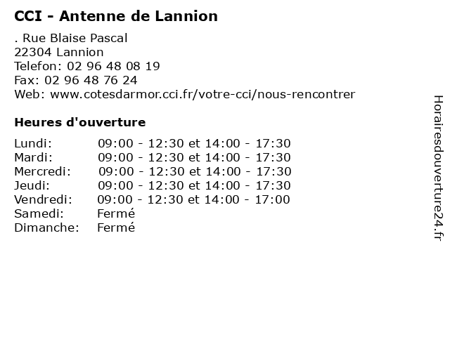 CCI - Antenne de Lannion à Lannion: adresse et heures d'ouverture