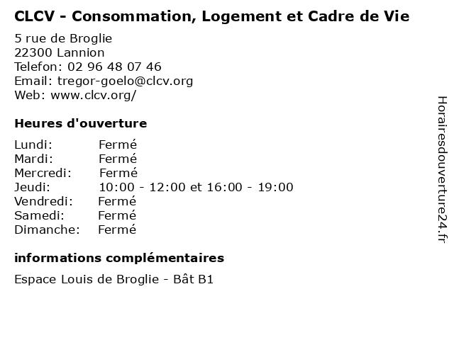 CLCV - Consommation, Logement et Cadre de Vie à Lannion: adresse et heures d'ouverture