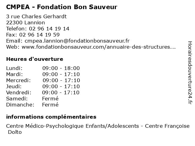 CMPEA - Fondation Bon Sauveur à Lannion: adresse et heures d'ouverture