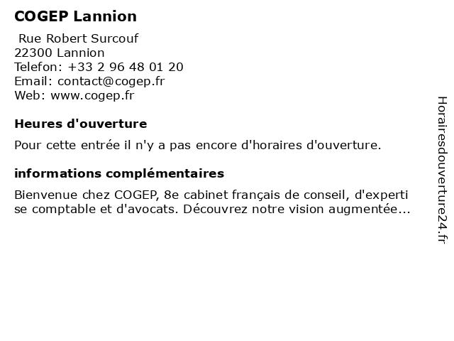 COGEP Lannion à Lannion: adresse et heures d'ouverture