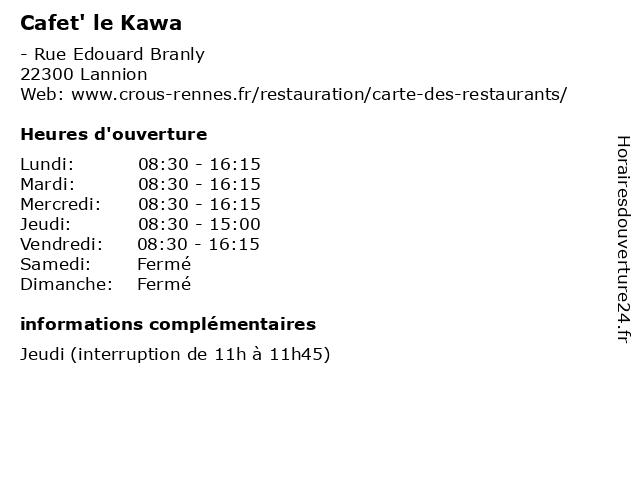Cafet' le Kawa à Lannion: adresse et heures d'ouverture