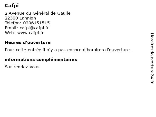 Cafpi à Lannion: adresse et heures d'ouverture