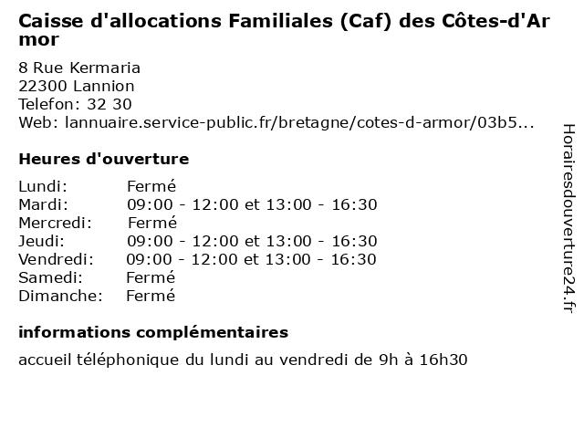 Caisse D'Allocations Familiales à Lannion: adresse et heures d'ouverture