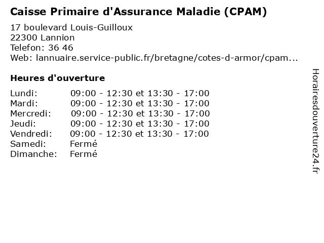 Caisse Primaire D'Assurance Maladie à Lannion: adresse et heures d'ouverture