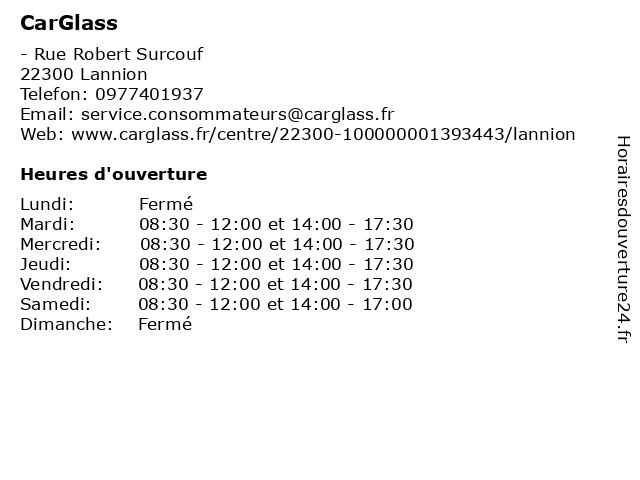 CarGlass à Lannion: adresse et heures d'ouverture