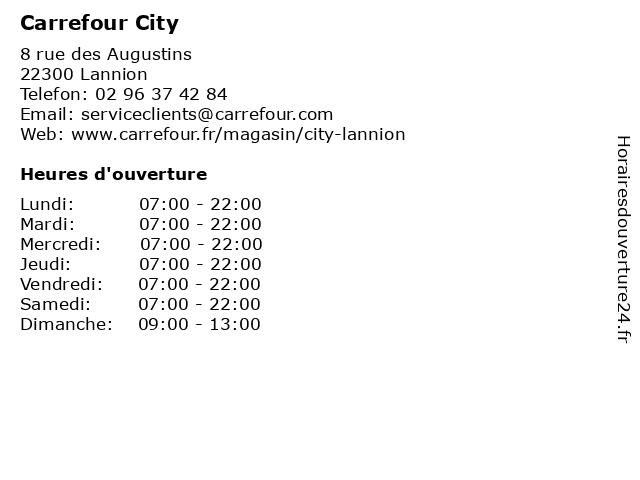 Carrefour City à Lannion: adresse et heures d'ouverture