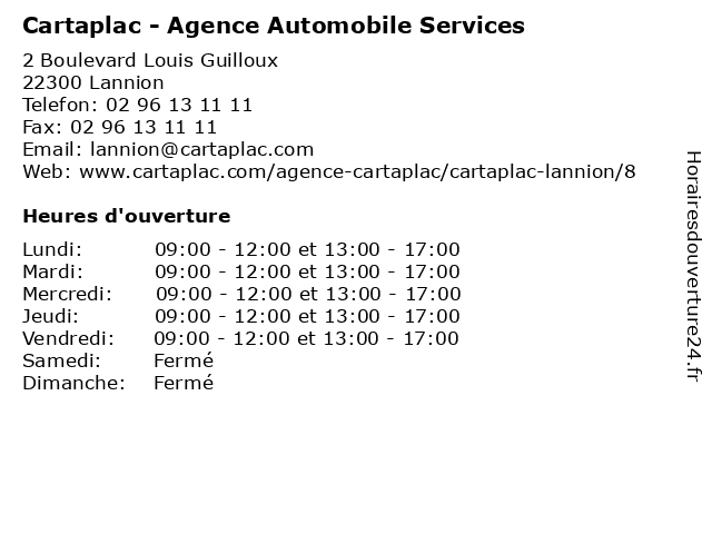 Cartaplac - Agence Automobile Services à Lannion: adresse et heures d'ouverture