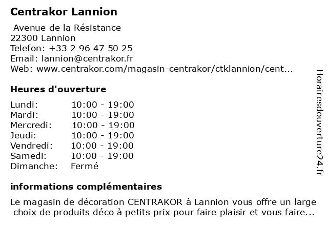 Centrakor à Lannion: adresse et heures d'ouverture