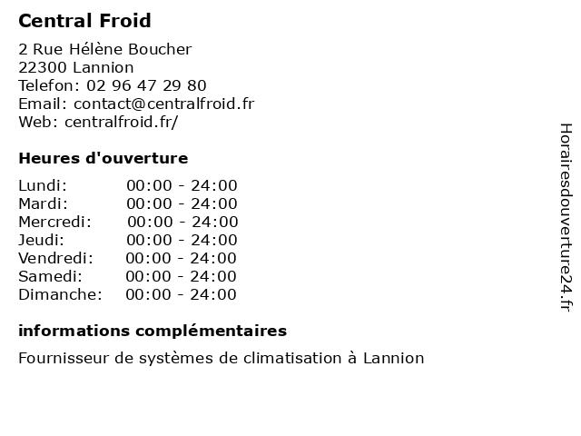 Central Froid à Lannion: adresse et heures d'ouverture