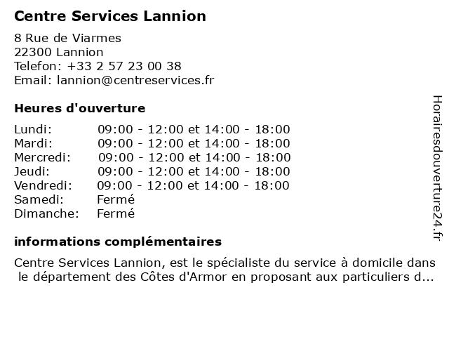 Centre Services Lannion à Lannion: adresse et heures d'ouverture